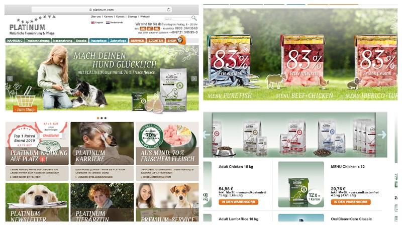 Die PLATINUM Webseite und der Webshop sind übersichtlich aufgebaut und informativ. (Screen)