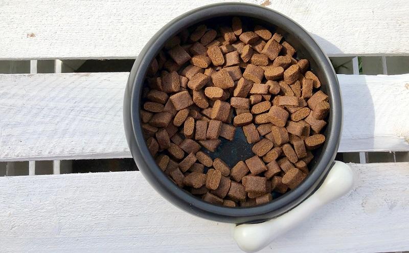 PLATINUM Trockenfutter: Die Adult IBERICO+GREENS Kroketten sind flach und rechteckig.